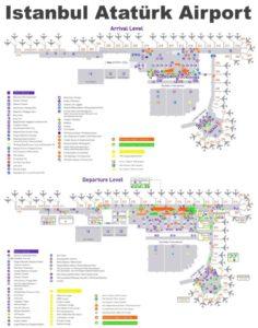 Карта аэропорта Ататюрк в Стамбуле