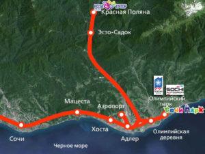Схема движения электропоездов Ласточка до аэропорта Сочи