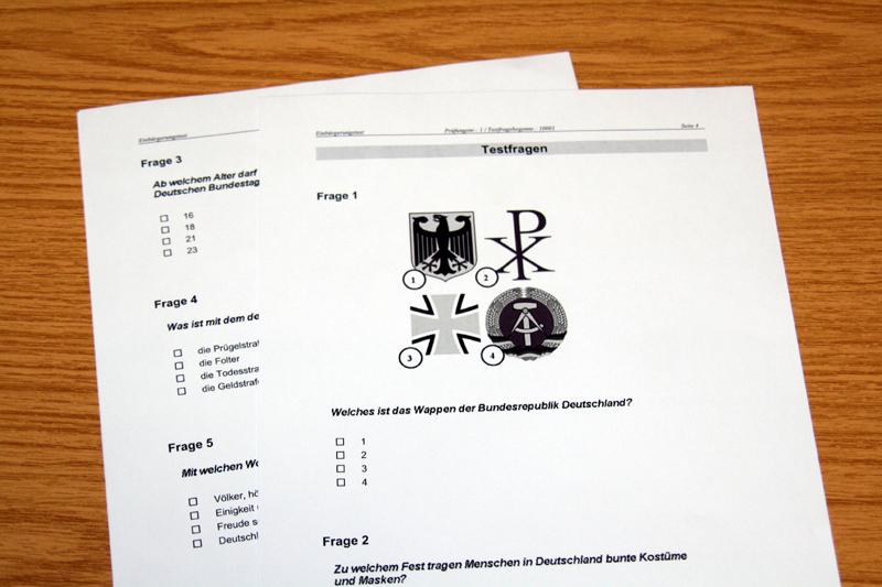 Тест на интеграцию в общество при получении гражданства ФРГ